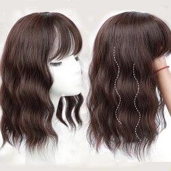 Верхний парик для волос, Накладка для волос, Короткие Волнистые накладные волосы, черные, коричневые человеческие волосы, смешанные синтети...