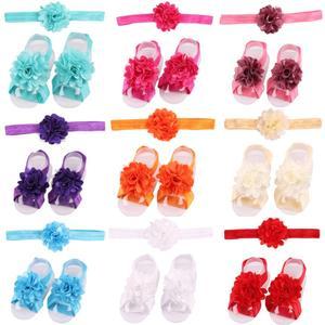 Nowy elegancki satynowy kwiat siatki dziecko boso sandały z noworodka opaski chrzest buty dziewczynka rekwizyty fotograficzne urodziny zestawy upominkowe