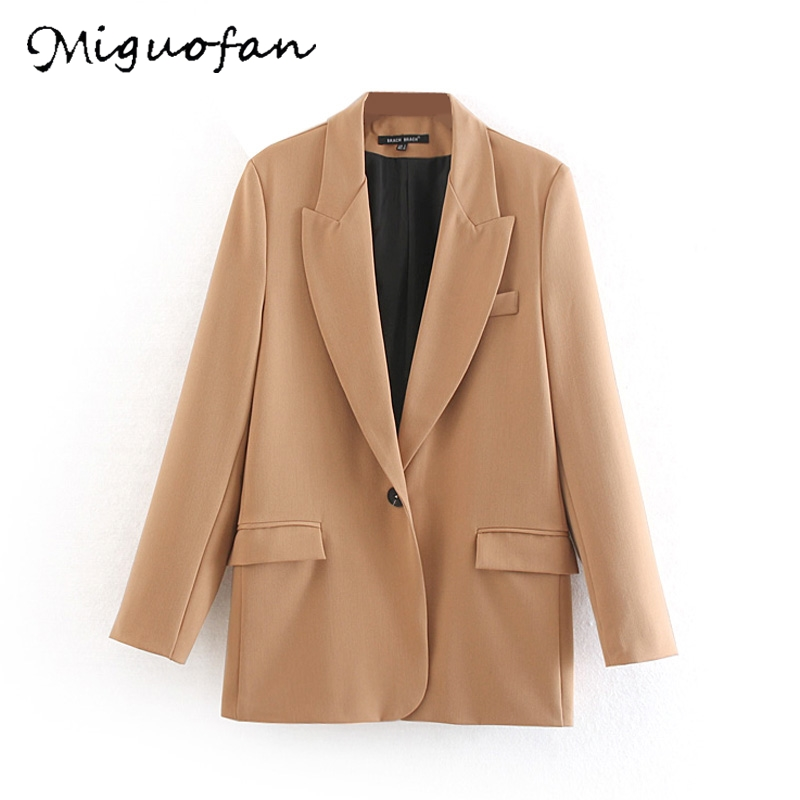 Miguofan 2019 solid blazers Women Jackets blazers coats Autumn Winter office blazer Pocket Suit Vintage Blazers for female new