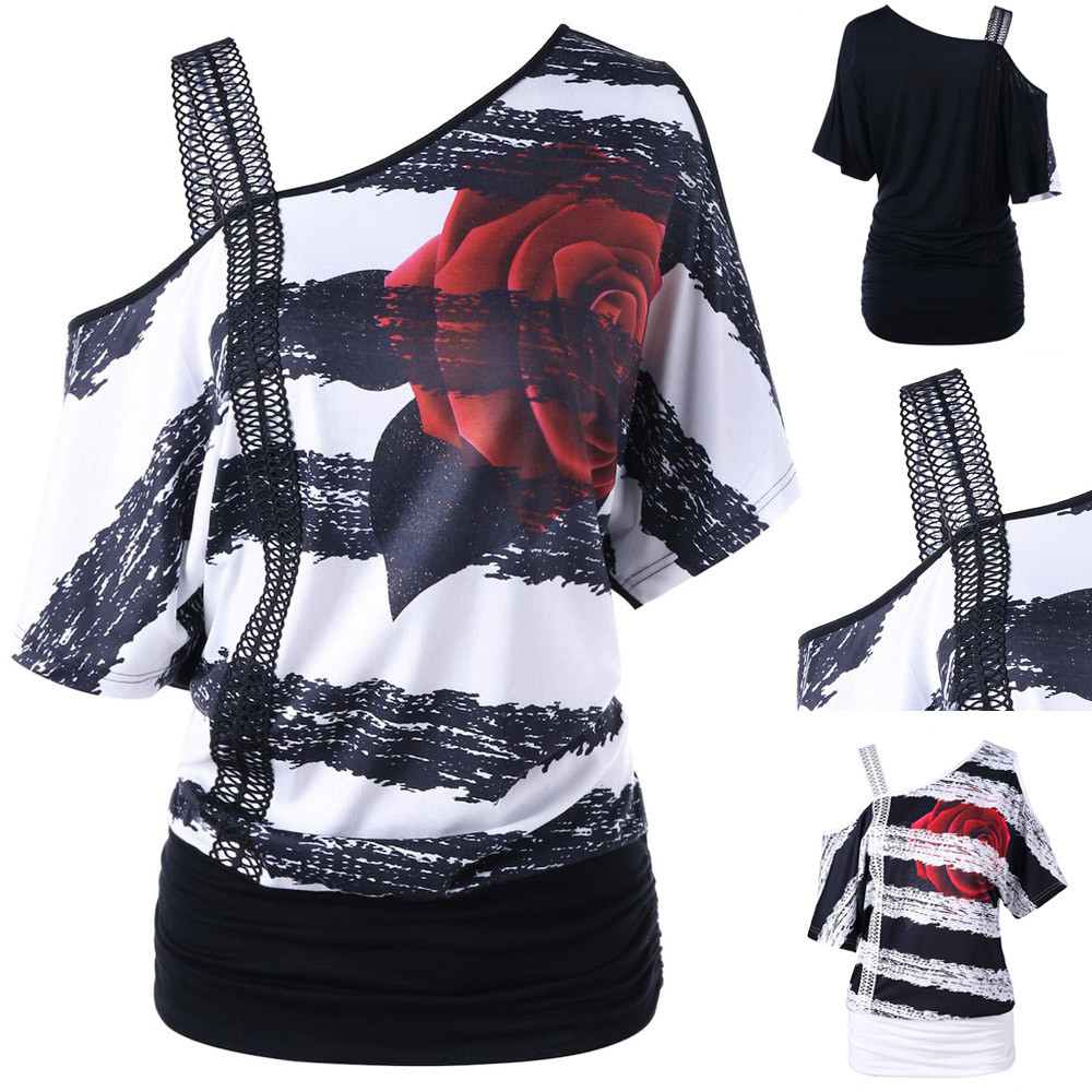 Fashion Ladies Sweatshirt Women Off Shoulder Strap Top Strapless Skew Collar Floral Print Anime Clothes Black White Tops image