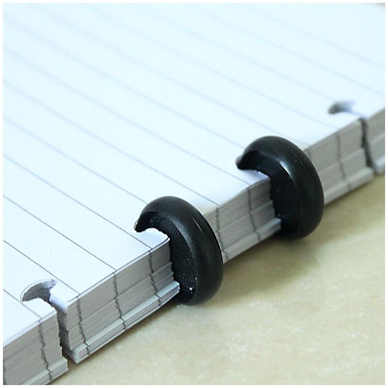 10Pcs Black Round Rings Plastic Mushroom Hole Loose Leaf Ring Book Binding Disc Buckle Hoop DIY Binder Notebook Office Rings