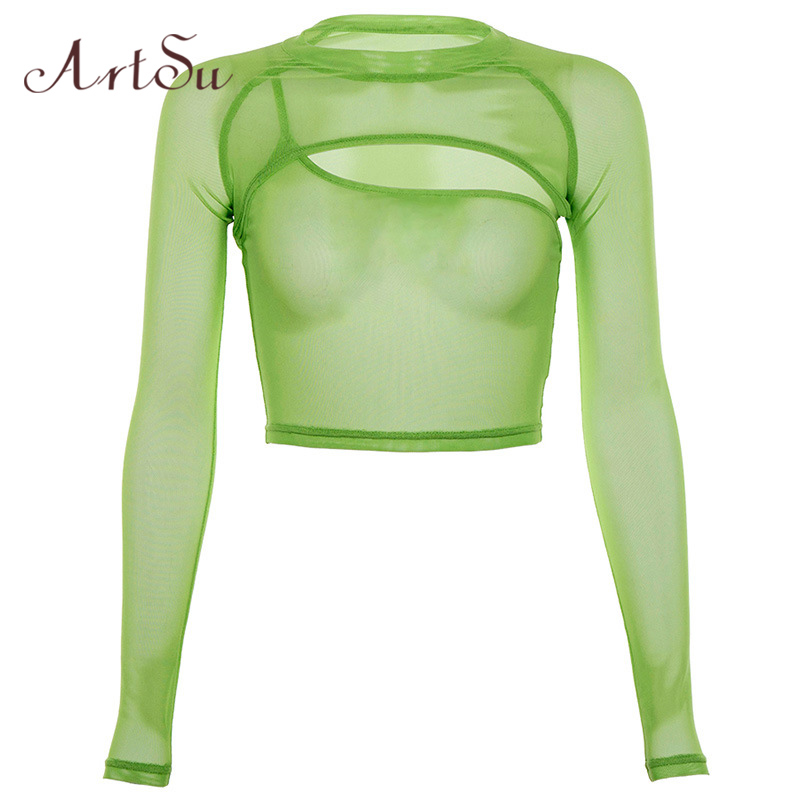 ArtSu Green Mesh Top Sexy Transparent Long Sleeve Crop Top Tshirt Women Tee Shirt Femme Two Pieces Streetwear ASTS21124