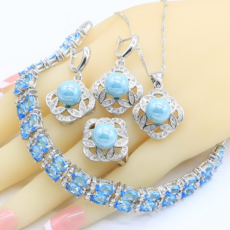 Rings Necklace Jewelry-Sets Pendant Zircon Pearl 925-Silver Women Blue for Gift-Box