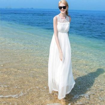 New 2019 Real 100%Silk Dress Women Natural Silk High Quality Elegent Holiday Beach Long dress White Free Shipping