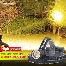 8000lm żółte światło białe lekka latarka czołowa XHP70 2 najmocniejszy reflektor Led z głowicą Zoomable XHP70 Fishing Camping tanie tanio POCKETMAN Wysokie Średnie Niskie White or Yellow Light Headlamp 100W 60° Camping Fishing Hiking Climbing LITHIUM ION 3*18650 battery