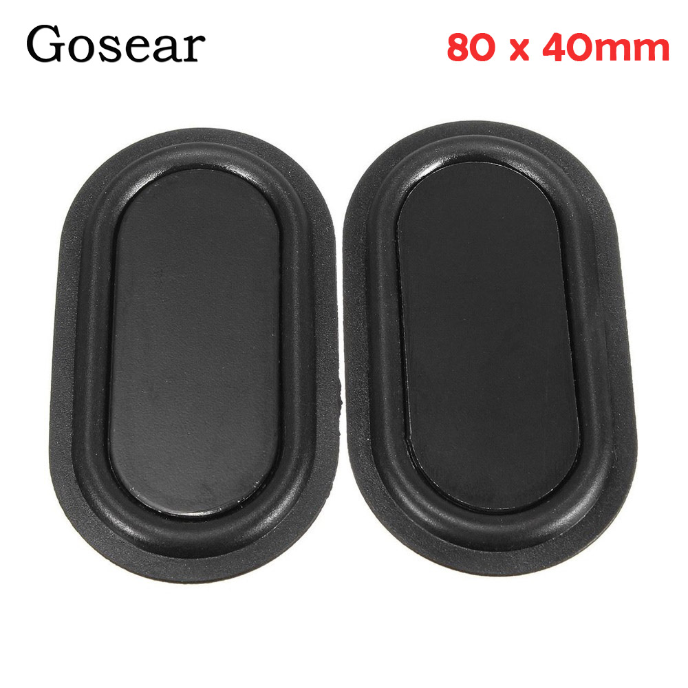 Gosear 1 Pair=2pcs 80 X 40mm Speaker Passive Radiator Auxiliary Plate Durable Rubber Bass Vibration Plate Speaker Accessories