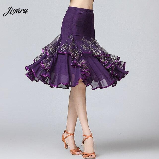 Sale New Ballroom Dance Skirts Women Latin Tango Modern Dancing Skirts National Standard Waltz Flamenco Competition Dance Dress