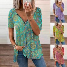 Zipper V Neck Short Sleeve Shirt Women Summer Casual Loose T Shirt Fashion Vintage Pullover Plus Size Oversize Clothes Top