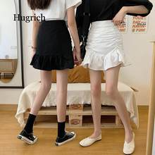 Skirts Women Solid A-line Summer Mini Hem Ruffles New Ulzzang Chic Ruched All-match High Waist Hot Selling Lovely Girls Elegant(China)