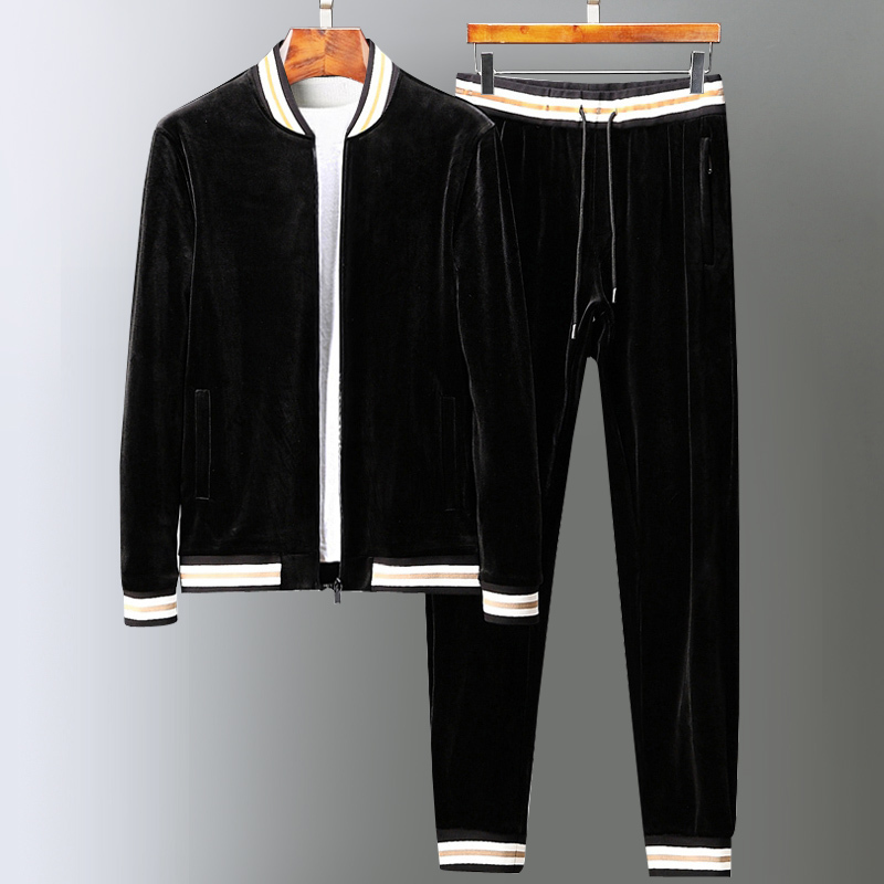 Velvet Mens Sets (sweatshirts+pants) Luxury Stand Collar Thick Men Hoodies Fashion Elastic Waist Man Pants Plus Size 5xl