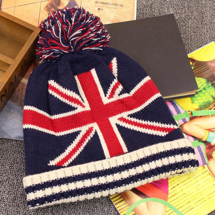 แฟชั่น USA Star และธงลาย Beanies ผู้หญิงผู้ชายฤดูใบไม้ร่วงฤดูหนาว Pom Pom Ball หมวกถักธงอังกฤษ Beanies