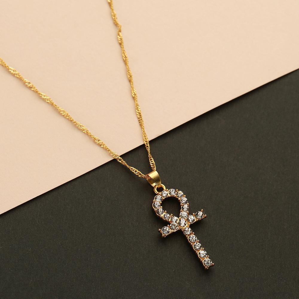 Chandler Ankh Cross Pendant Necklace Chocker Necklaces For Women Enamel Antique Mirco CZ Pendant India Religious Chokers