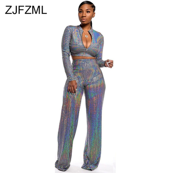 Shiny Sequined Sexy Two Piece Sweatsuit Women Clothes Deep V Neck Long Sleeve Crop Top  And Wide Leg Pants Autumn Winter Outfits golden shiny strappy two piece outfits