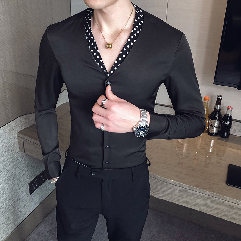 2020 Spring Casual Shirt Men Long Sleeve V-neck Slim Fit Shirts Men Dress Nightclub Party Streetwear Social Top Camisa Masculina
