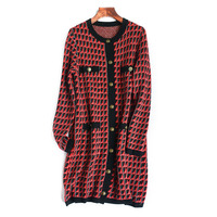 Long Cardigan Autumn 2020 New Round Collar Long Sleeve Straight Temperament Wool Sweater Women