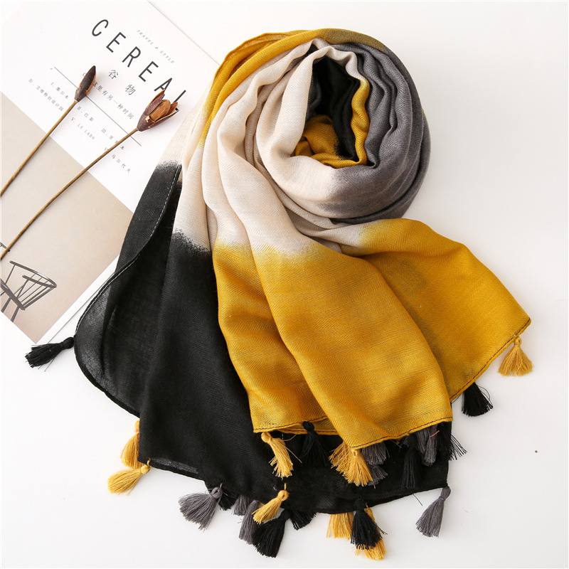 KYQIAO Boho Yellow Hijab Scarf Winter Scarf Women Spring Long Luxury Brand Tassels Patchwork Scarf Sjaal Muslim Hijab Snood