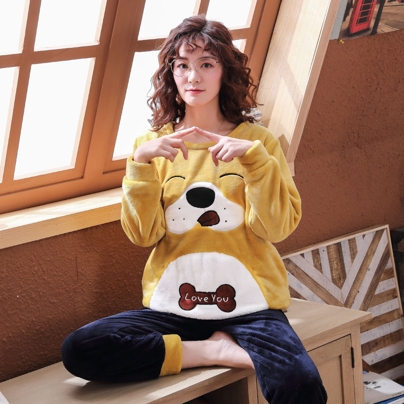 Long Sleeve Warm Flannel Pajamas Winter Women Pajama Sets Print Thicken Sleepwear Pyjamas Plus Size 3XL 4XL 5XL 85kg Nightwear 272