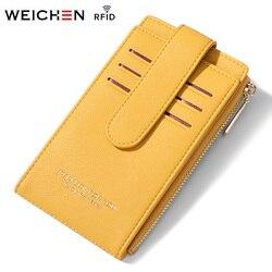 WEICHEN RFID держатель для карт, Женский кошелек, кошельки, Женский кошелек для кредитных карт, женская сумка для карт, кошелек для монет на молнии...