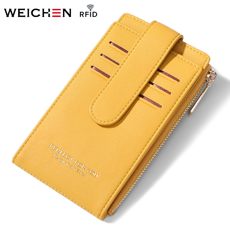 WEICHEN RFID Card Holder Women Purse Wallets Theftproof Female Credit Card Wallet Ladies Card Bag Zipper Coin Purse High Quality