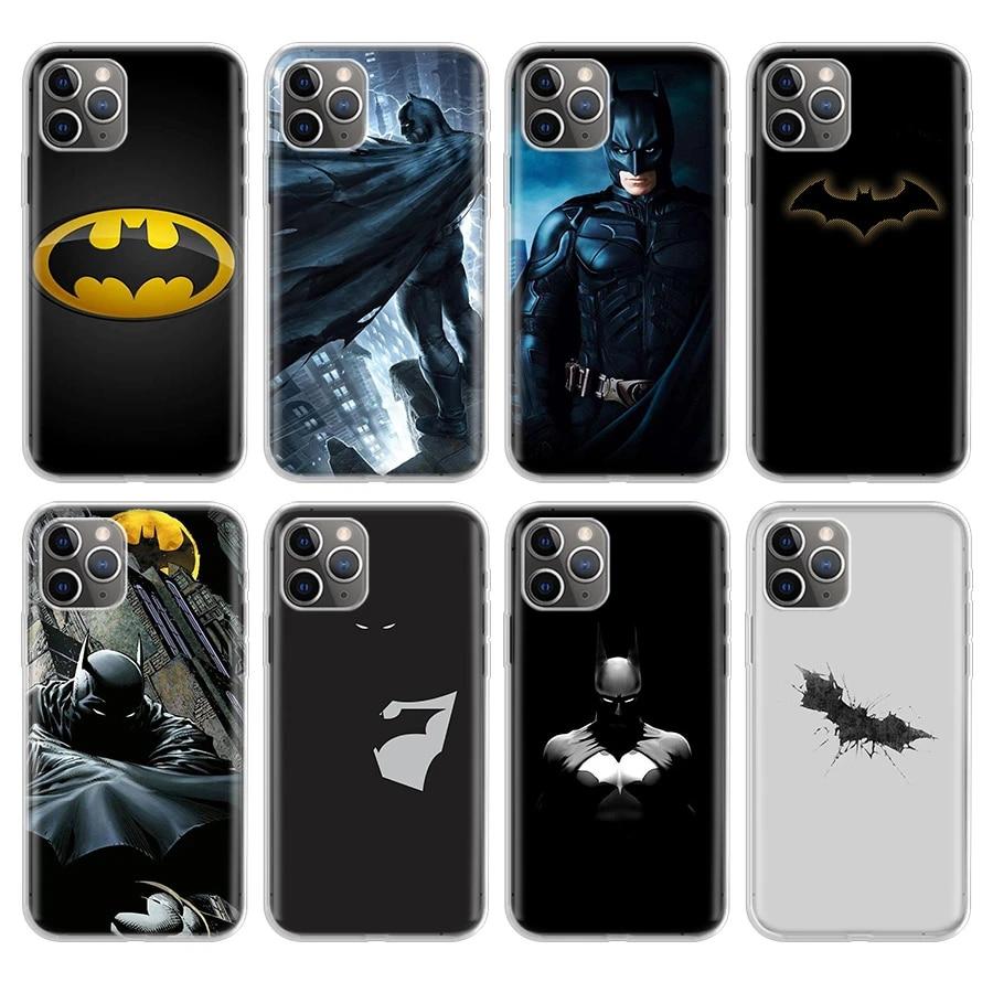 Coque de téléphone mode dessin animé Silicone Batman pour Apple iPhone 11 Pro XR 7 8 6 6S Plus X XS MAX 5 5S SE souple téléphone couverture arrière