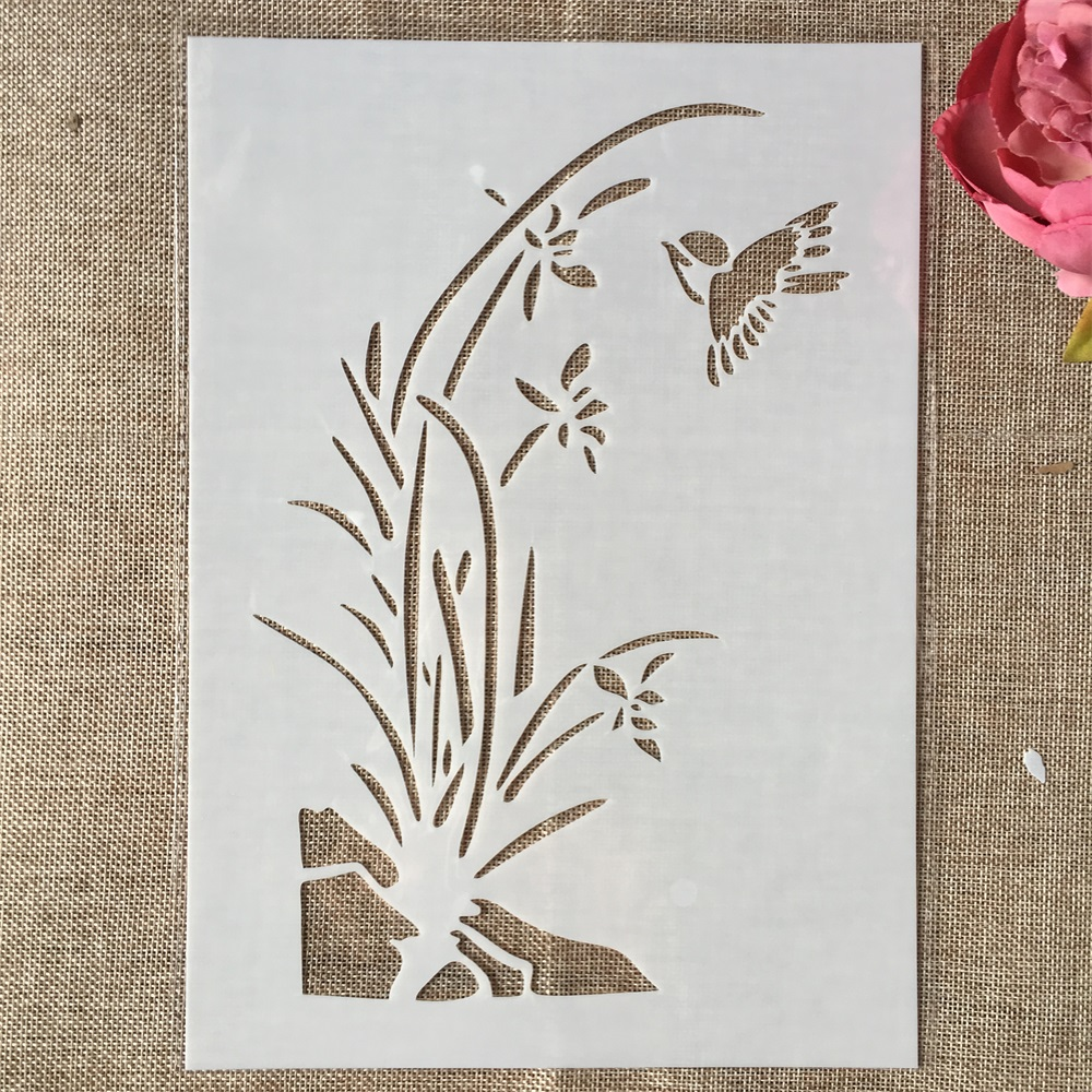 29cm A4 Grass Small Bird DIY Layering Stencils Wall Painting Scrapbook Coloring Embossing Album Decorative Template