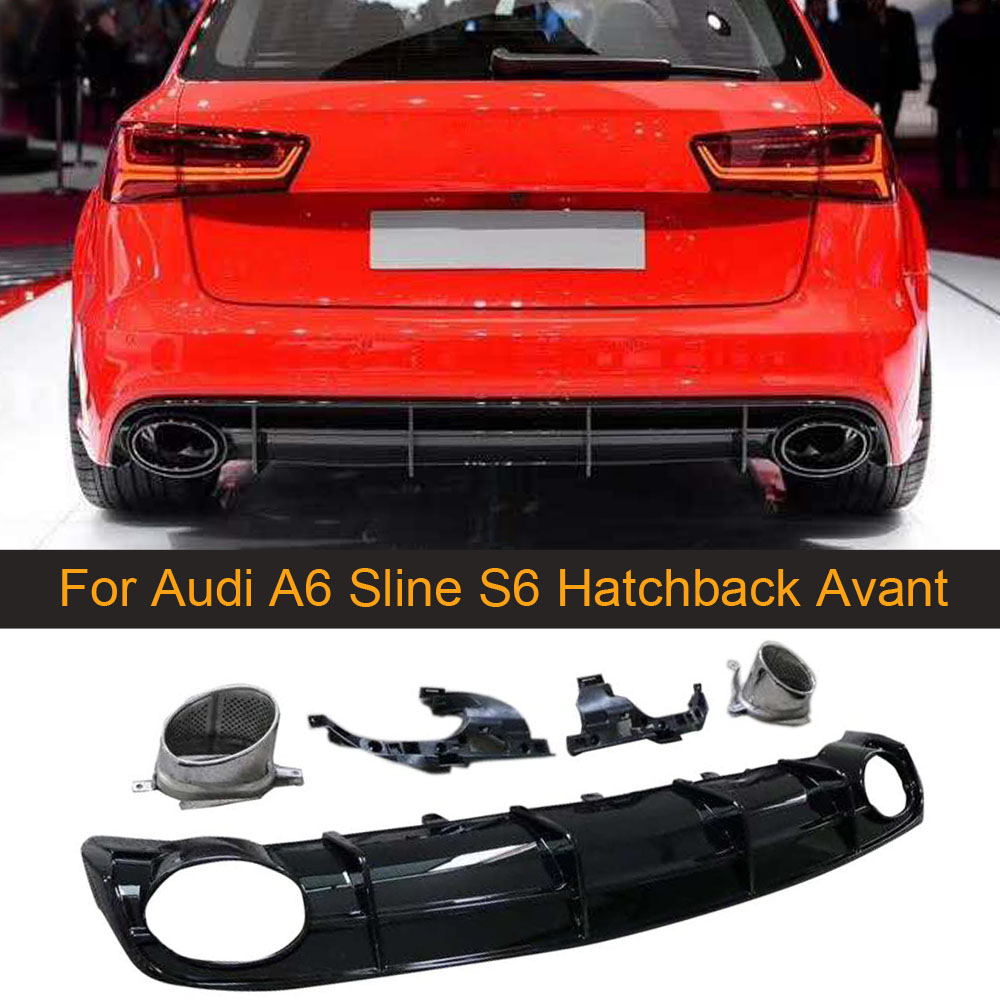Rear Bumper Diffuser Spoiler for Audi A6 Sline S6 Hatchback Avant Touring 2015-2018 Not for RS6 PP Rear Bumper Diffuser Spoiler image