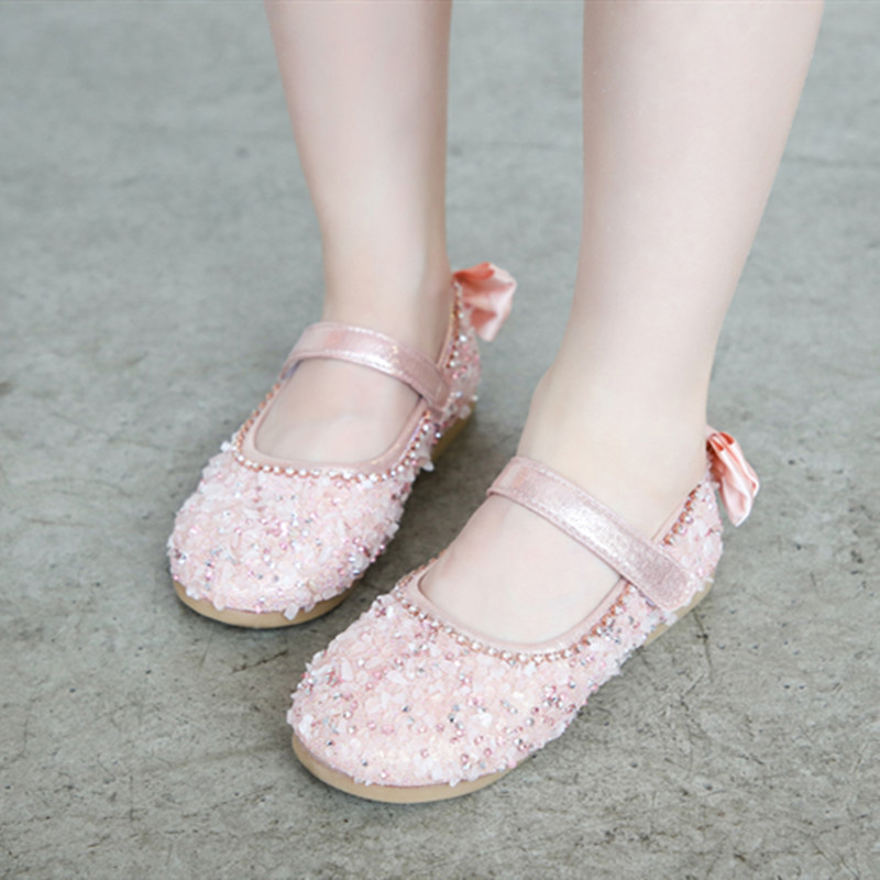 1 Pair Children Girls Sequin Princess Shoes Anti-slip Breathable Fashion For Party M09