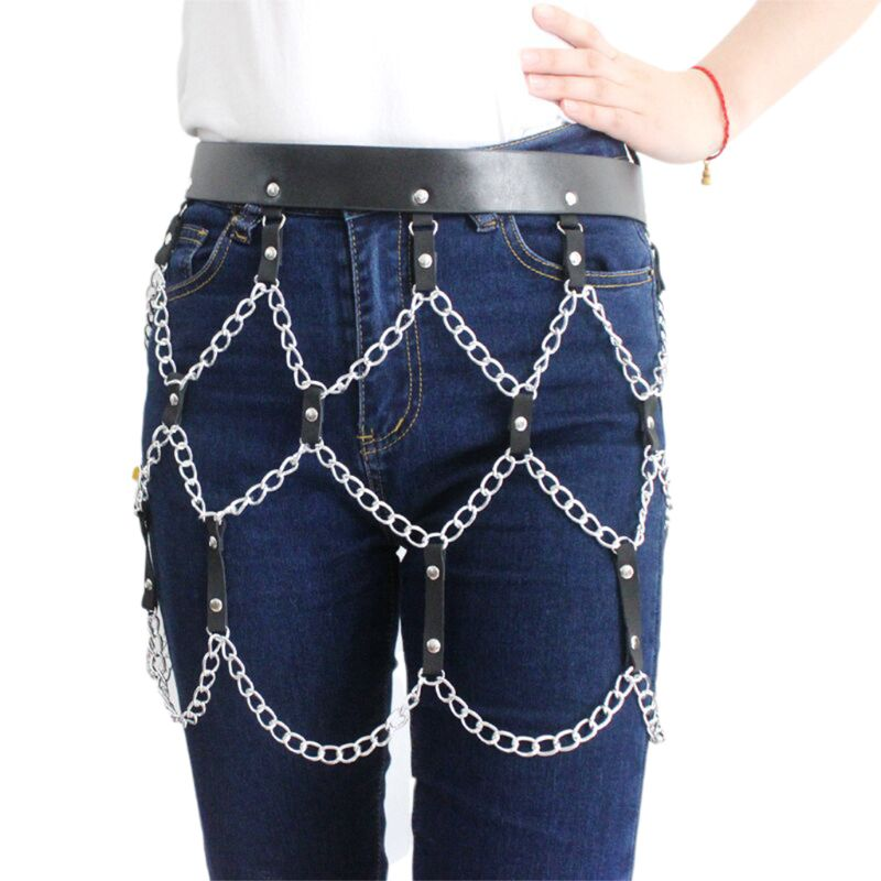 2020 New Women Punk Sexy Faux Leather Waist Belt Adjusted Harness Skirt With Metal Chains