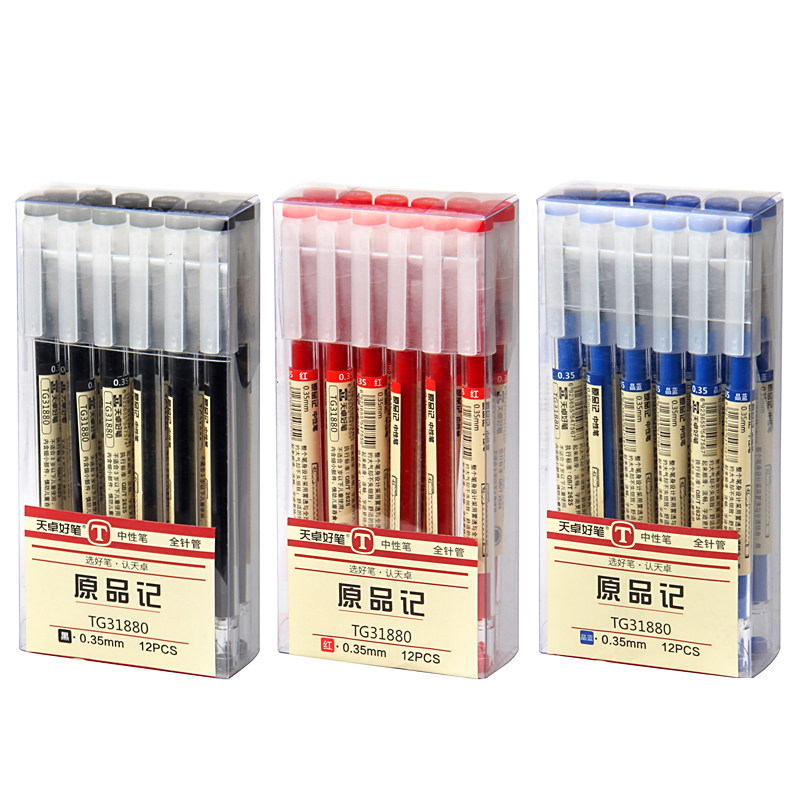 12 Pcs/lot MUJI Japanese Style 0.35mm Gel Pen Black Blue Ink Pen Maker Pen School Office Student Exam Writing Stationery Supply
