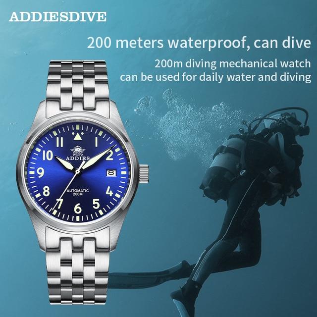 Addies Dive Pilot Watch Automatic Mechanical Diver Watch C3 Luminous men's watches divers Sapphire Crystal 200m dive watch NH35 6