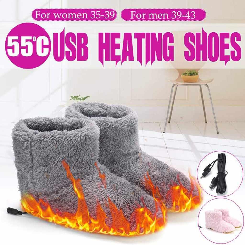 Stiefel Frauen USB Erhitzt Warme Füße Dicke Flip Flop Warme Fuß Wärmer Schuh Winter Erwärmung Pad Heizung Einlegesohlen Warme Bequeme