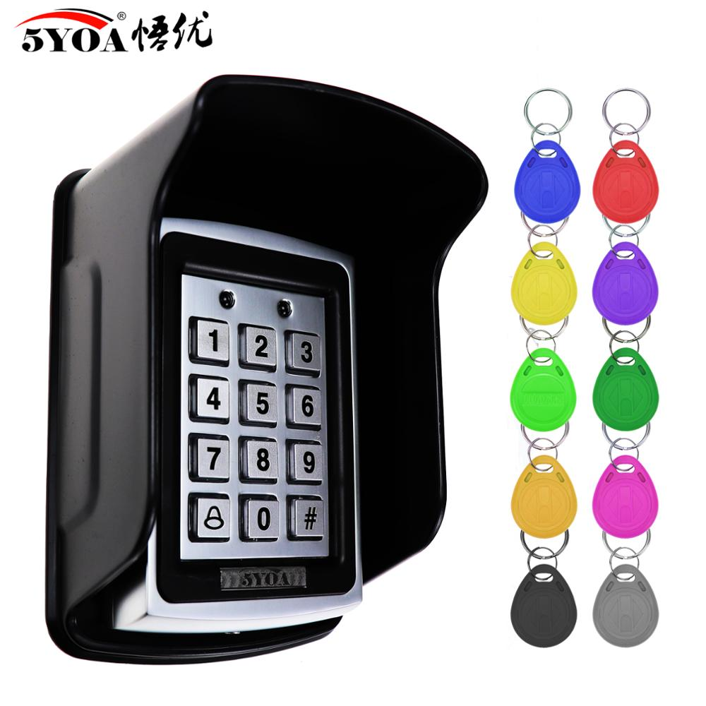 Hot Sale Waterproof Metal Rfid Access Control Keypad With 1000 Users+ 10 Key Fobs For RFID Door Access Control System