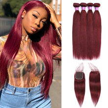 Peruvian Straight Hair 4 Bundles Human Hair Extensions With 4*4 Lace Closure Double Weft 99j Red Hair Weave Bundles With Closure