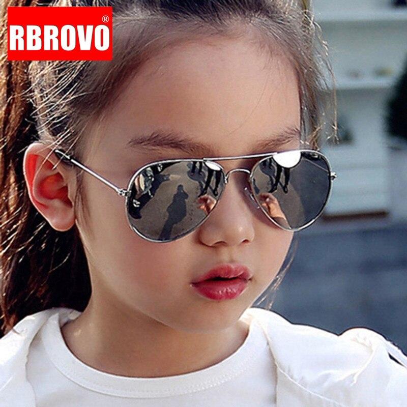 RBROVO 2019 Classic Sunglasses Girls Colorful Mirror Children Glasses Metal Frame Kids Travel Shopping Eyeglasses UV400