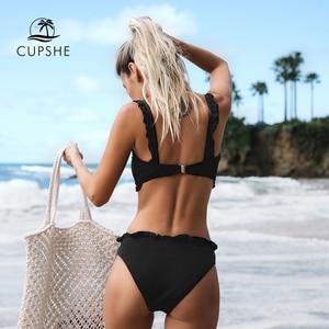 Image 2 - Cupshe Đen Chắc Chắn Bikini Bộ Nữ Đồng Bằng Ren Crop Top Thông Hai Miếng Đồ Bơi 2020 Cô Gái Đi Biển Đồ Tắm Đồ Bơi