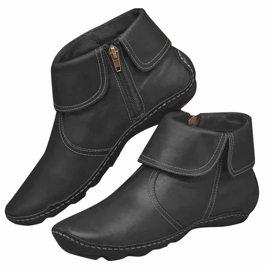 Đế Phẳng Boot Chống Trơn Trượt Dây Kéo Da Mũi Tròn Giày Gothic Punk Mắt Cá Chân Giày Plus Size 42 43 châu Âu Nữ