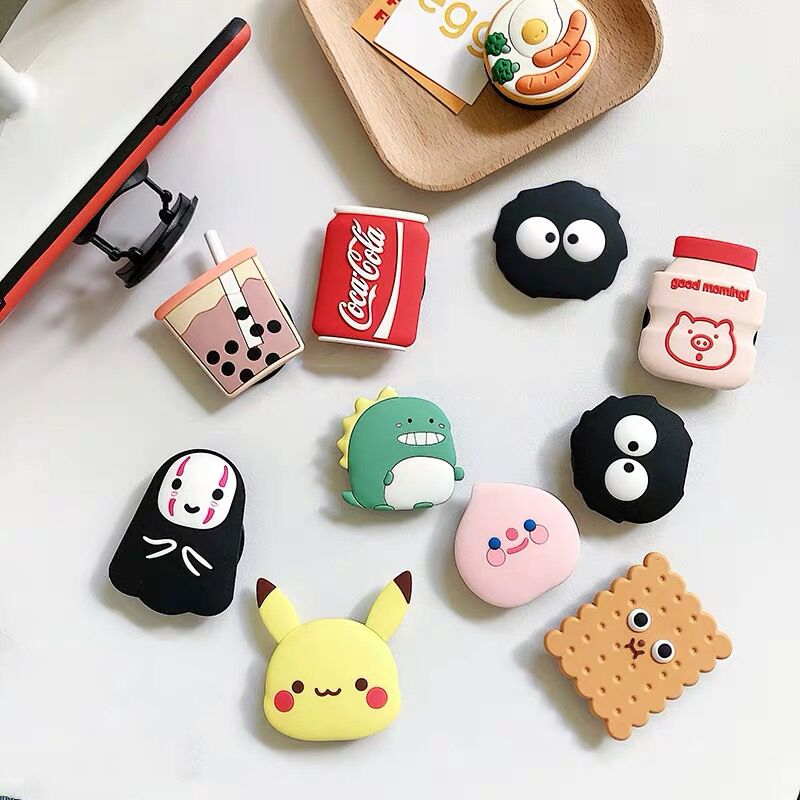 3D Cartoon Fold Finger Grip Mobile Phone Holder For Iphone Samsung Xiaomi Huawei Redmi Case Cute Silicone Holder Stand Bracket
