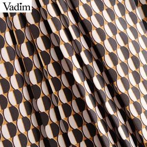 Image 5 - Vadim נשים שיק הדפסת midi חצאית חגורת עיצוב חזרה רוכסן משרד ללבוש נשי מזדמן אופנה בסיסית אמצע עגל חצאית BA840