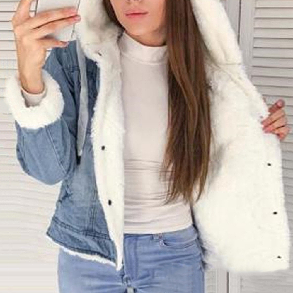 Womens Winter Jeans Jacket With Faux  Fur Thick Warm Coat Wool Cotton DenimHooded Collar Padded Coats Bomber Windbreake
