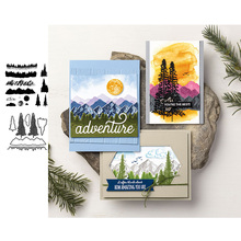 Mountains Trees Metal Cutting Dies and Clear Stamps for DIY Scrapbooking Crafts Die Stencils Card Make Photo Album Sheet Decor merry christmas trees sticker painting stencils for diy scrapbooking stamps home decor paper card template decoration album