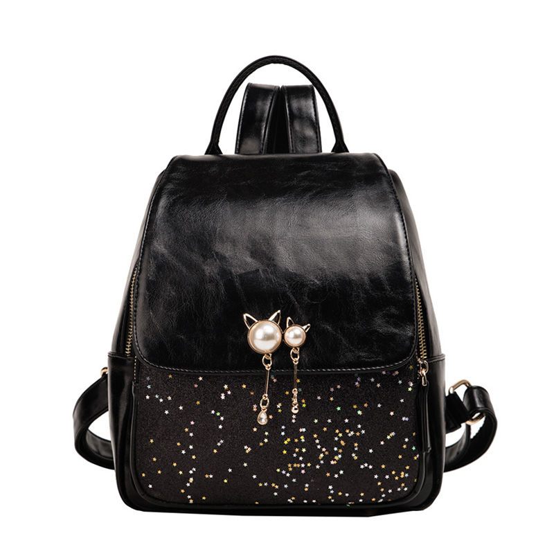 Beibaobao Fashion Women's Bags Sequins Pearl Girls Backpacks Luxury Pu Leather Women Backpack 2020 New Designer School Bag Girls