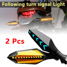 2Pcs Motorcycle 12 LED Turn Signal Sequential Flowing Indicator Lights Amber Flicker Accessories
