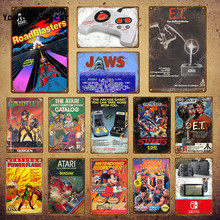 Klasyczna gra wideo ET plakat zagraj w gry metalowe plakietki emaliowane dla dzieci pokój Game Center Home Decor Vintage Gamer tablica YI-099(China)