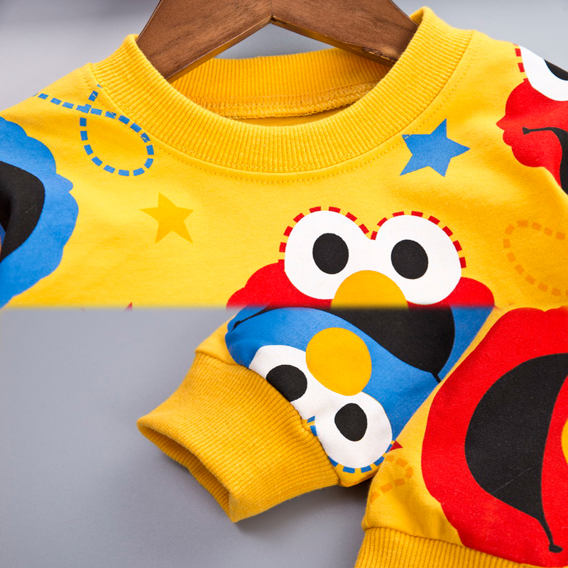 Image 4 - Cartoon Toddler Infant Baby Boy Clothes Set T shirt + Pants Cotton Long Sleeves Outfits Set Yellow White Toddler Boys ClothingClothing Sets   -