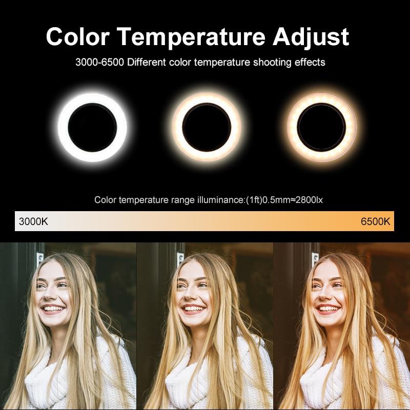 26cm Photography Table LED Light Tripod Ring Lamp Youtube Video Live Photo Studio Selfie Stick Makeup Light For Phone
