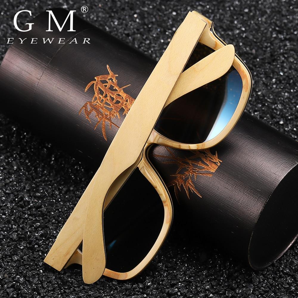 GM Handmade Retro Natural Skateboard Wooden Sunglasses Men Women Polarized Mirror UV400 Sun Glasses Full Frame Wood Shades