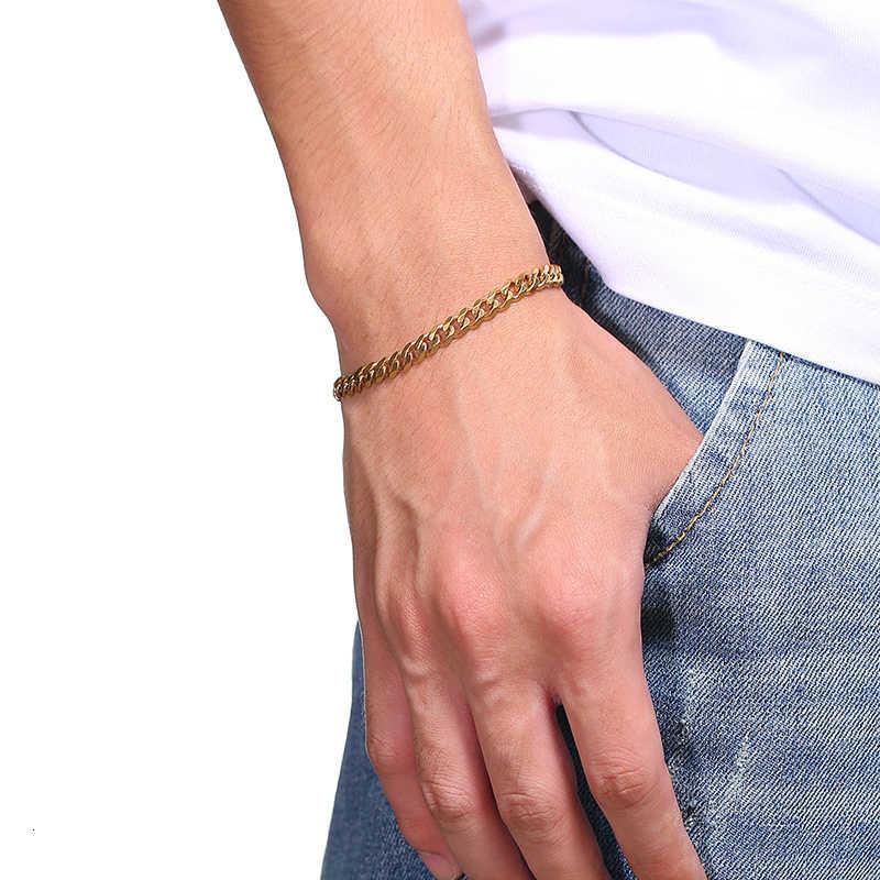 สร้อยข้อมือผู้ชาย Curb Cuban Link Chain สแตนเลสบุรุษสตรีสร้อยข้อมือกำไลข้อมือ Gold Tone Fade 3 มม.ถึง 11 มม.
