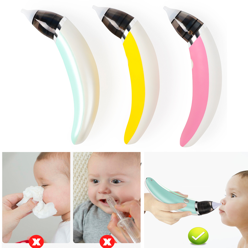 Nasal Aspirator Rose Red Mucus Extractor Quality for Colds Flu Baby Vacuum Cleaner LED Nose Cleaner for Nasal Congestion Relief