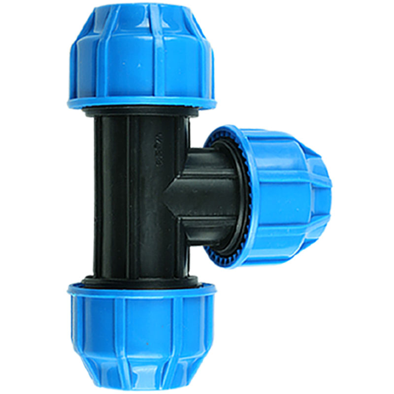 25mm Plastic PP Thick Quick Connector T Type Blue Black Caps Adapter PE Pipe Fittings For Irrigation