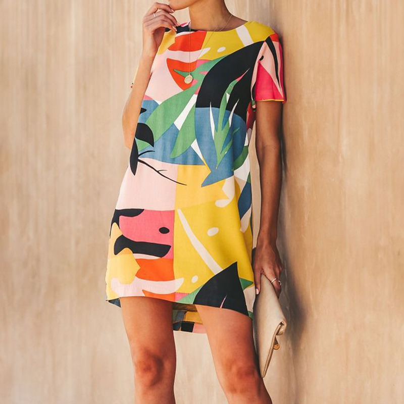 2019 Novel Design Summer Dress Round Neck Short sleeved Geometric Pattern Dress Fashion Casual Straight Women 39 s Dress in Dresses from Women 39 s Clothing